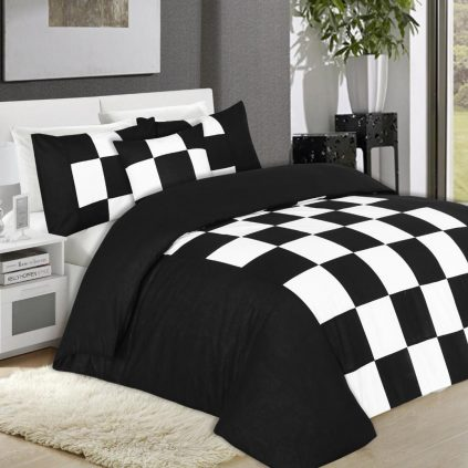 8 Pcs Chess Black Bed Sheet Set With Quilt, Pillow And Cushions Covers