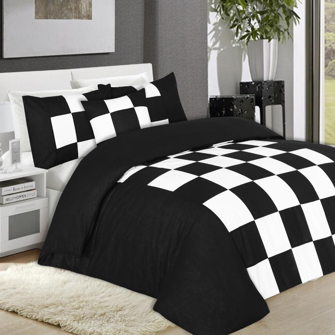8 Pcs Chess Black Bed Sheet Set With Quilt Pillow And Cushions Covers Hutch Pk Online Fashion Store In Pakistan