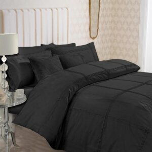 8-Pcs-Dyed-Pleated-Black-Bed-Sheet-Set-with-Quilt-Pillow-and-Cushions-Covers.