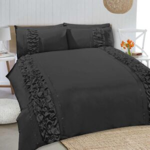 8 Pcs Dyed Smokey Black Bed Sheet Set with Quilt, Pillow and Cushions Covers