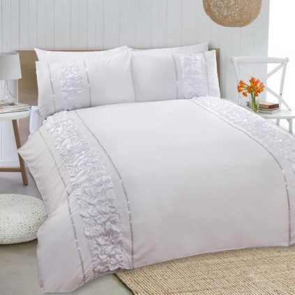 8 Pcs Dyed Smokey White Bed Sheet Set with Quilt, Pillow and Cushions Covers