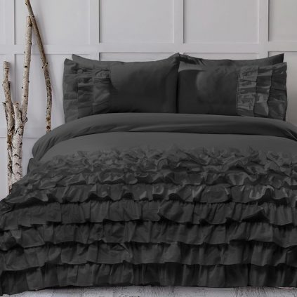 8 Pcs Frilly Black Bed Sheet Set with Quilt, Pillow and Cushions Covers