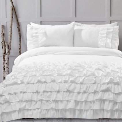8 Pcs Frilly White Bed Sheet Set with Quilt, Pillow and Cushions Covers
