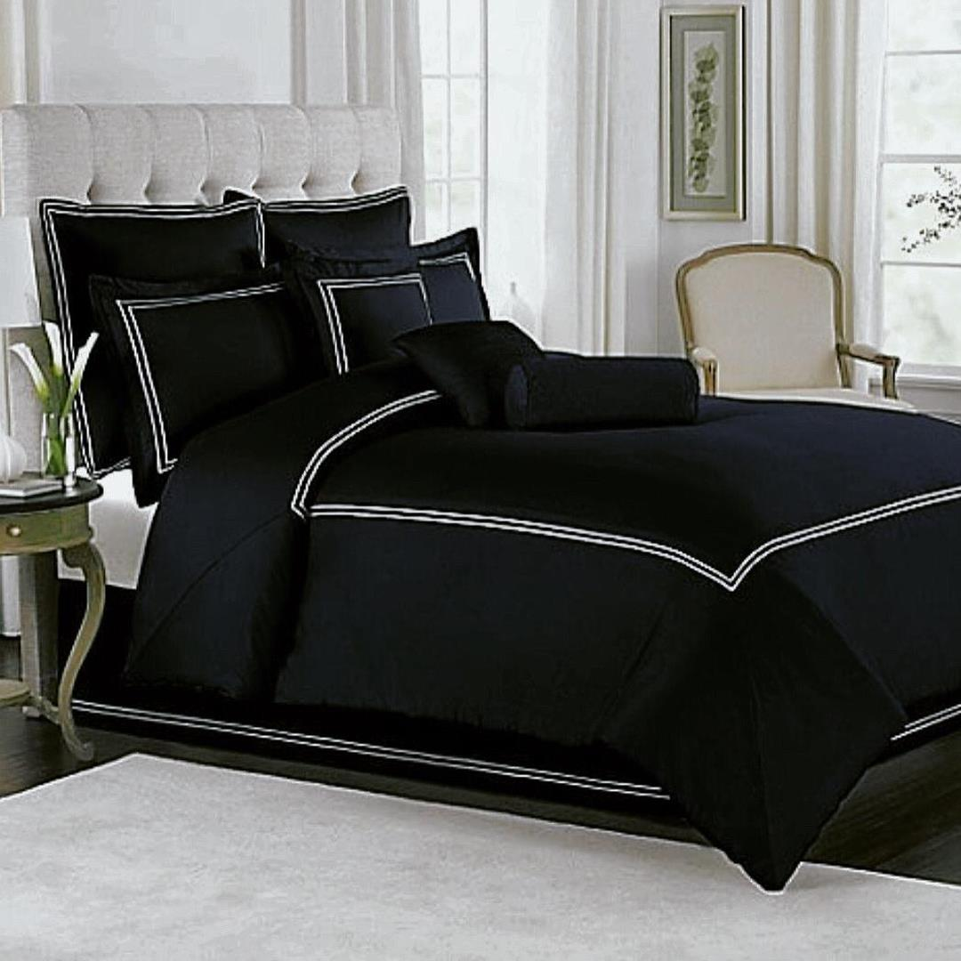 9 Pcs Dyed Black and White Double Lines Bed Sheet Set With Quilt, Pillow And Cushions Covers