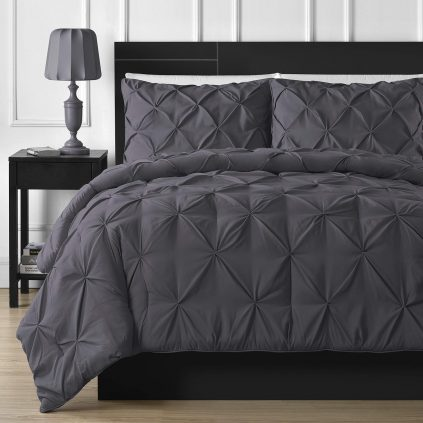 Diamond Grey Bed Sheet Set with Quilt, Pillow and Cushions Covers 02