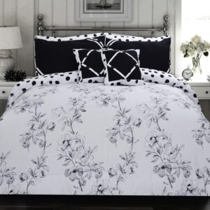 Angela Grey Floral 8 Pcs Duvet Cover Bedding Set 01