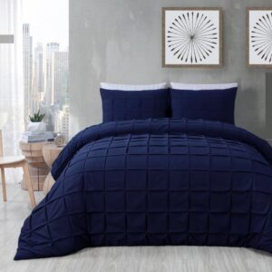 Pleated Square Navy Blue Bed Sheet Set With Quilt, Pillow And Cushions Covers