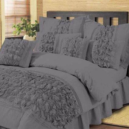 8 Pcs Bubbles Wedding Grey Comforter Set With Quilt, Pillow And Cushions Covers