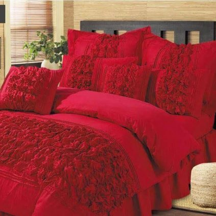9 Pcs Bubbles Wedding Red Comforter Set 250T With Pillow And Cushions Covers