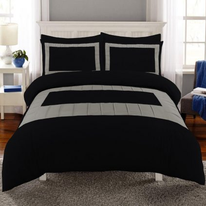 8 Pcs Grey Block Black Bed Sheet Set With Quilt, Pillow And Cushions Covers