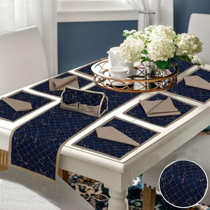 14 Pcs Quilted Table Runner Set Navy Blue